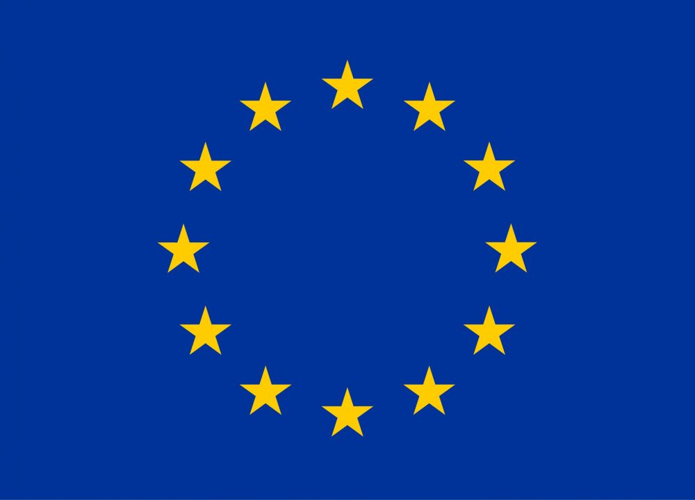 Blue and yellow European Union logo.
